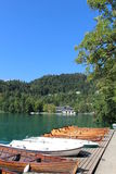 Rowing boats for hire Lake Bled Gorenjska Slovenia Stock Photography