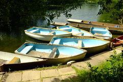 Rowing boats. For hire on river stock images