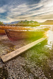 Rowing Boats At Keswick Boat Landings With Sun Flare Lens Distortions. A photograph taken at the Keswick Boat Landings at Derwentwater Lake in the Lake District royalty free stock photography