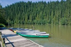 Rowing Boats on Lacul Rosu Royalty Free Stock Photography