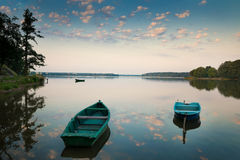 Rowing boats on the Lake Elk. Rowing boats floating over the Lake Elk waters. Masuria, Poland Royalty Free Stock Photos