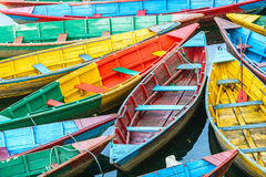 Rowing boats on the lake in Pokhara, Nepal Royalty Free Stock Photography