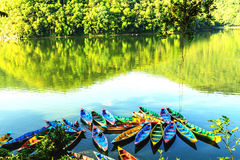 Rowing boats on the lake in Pokhara, Nepal Royalty Free Stock Photos
