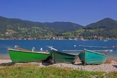 Rowing boats at the lakeshore tegernsee Stock Image