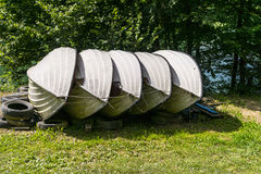 Rowing boats. Located on the shores of Lake Solina in Poland Stock Photo