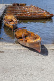 Rowing Boats moored at Boweness on Windermere, Lake Windermere. Royalty Free Stock Photos