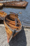 Rowing Boats moored at Boweness on Windermere, Lake Windermere. Royalty Free Stock Images