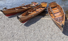 Rowing Boats moored at Boweness on Windermere, Lake Windermere. Royalty Free Stock Photo
