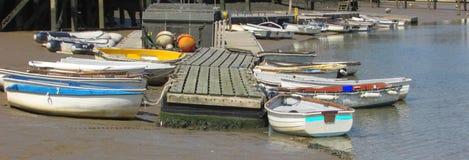 Rowing Boats mooring along the coast Royalty Free Stock Photography