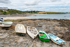 Rowing Boats at Portscatho Royalty Free Stock Images