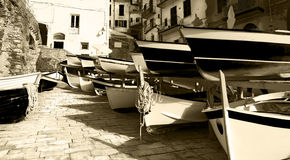 Rowing Boats - Riomaggiore Liguria Italy Stock Images