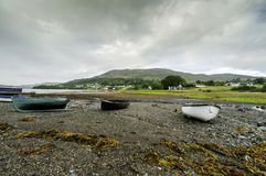 Rowing boats on a sea shore Royalty Free Stock Photo