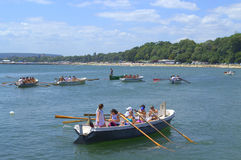 Rowing boats in Varna bay Royalty Free Stock Photography