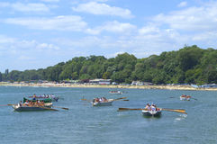 Rowing boats in Varna bay Stock Photography