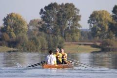 Rowing a canoe Stock Photos