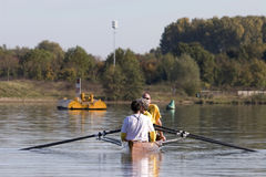 Rowing a canoe Royalty Free Stock Photo