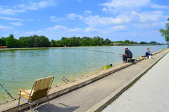 Rowing channel fishing,Plovdiv Royalty Free Stock Photo