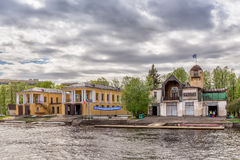 Rowing Club `Znamya` on the riverside of Malaya Nevka river in St. Petersburg stock photography