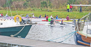 Rowing Competition on the Caledonian Canal. Royalty Free Stock Photography