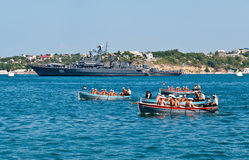 Rowing competitions of Russian Navy warship crew Stock Photos