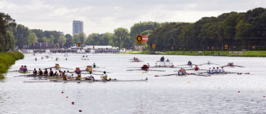 Rowing crews waiting for the start royalty free stock images