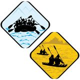 Rowing del deporte del mar del agua que transporta el pictograma de la muestra en balsa del símbolo del icono del kajak. Foto de archivo