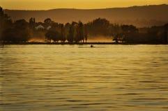 Rowing del lago morning Foto de archivo libre de regalías
