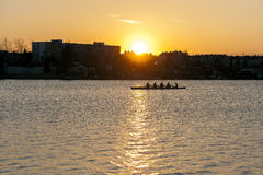 Rowing in the dusk. Shot in 22nd district in Vienna Austria next to the united nations headquarters Royalty Free Stock Photo