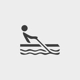 Rowing icon in a flat design in black color. Vector illustration eps10 Stock Images