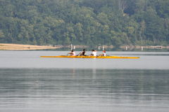 Rowing on the lake. Captured some rowers practicing on the lake Stock Photos
