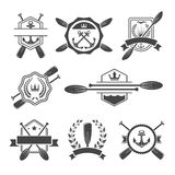 Rowing logo and paddle badges. Oar and shield, rowing and river sport. Vector illustration Stock Image