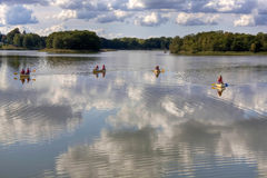 Rowing in Lyngby Lake Royalty Free Stock Photography