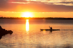 Rowing. Man rowing at sunset in denmark Stock Photo