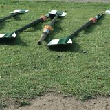 Oars on a meadow in Melbourne. Rowing in Melbourne, Victoria state Royalty Free Stock Image