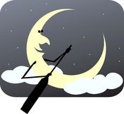 Rowing moon. Illustration of half moon rowing through clouds Stock Photography