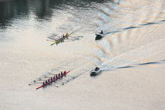 Rowing regatta aerial view Stock Photos