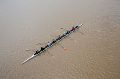Rowing on the Oklahoma River. This is a team of rowers on the Oklahoma River rowing Royalty Free Stock Photography