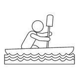 Rowing person pictogram icon Stock Photography