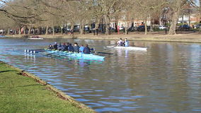 Rowing practice on Bedford river, United Kingdom. Various boats being rowed on the river Great Ouse in Bedford, United Kingdom. Rowers practising for racing stock footage