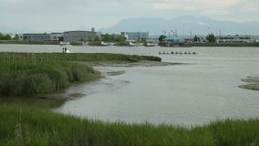 Rowing Practise, Richmond BC. Members of a rowing team, practice on the middle arm of the Fraser River located in Richmond, British Columbia. This calm waterway stock video