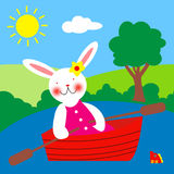 Rowing of the rabbit Royalty Free Stock Photo