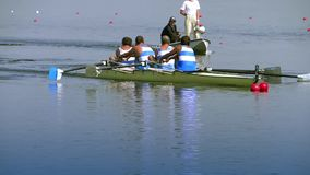 A rowing race stock video