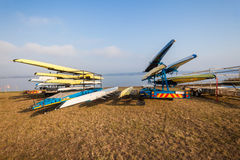 Rowing Regatta Crafts Trailers Dam Stock Photos