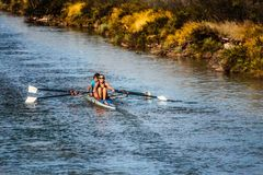 Rowing, Rowing Boat, Channel, Water Royalty Free Stock Photos