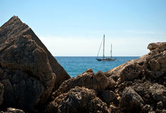 Rowing sailing boat Stock Images