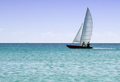 Rowing sailing boat Stock Photography