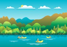 Free Rowing, Sailing In Boats As A Sport Or Form Of Recreation Vector Flat Illustration. Boating Fun For All The Family Outdoors. Stock Image - 176558841