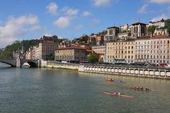 Rowing on Saone river Royalty Free Stock Photos