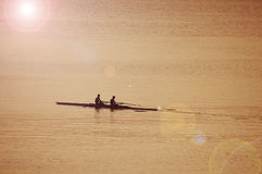 Rowing on the sea Royalty Free Stock Photography