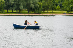 Rowing on The Serpentine, London, England Stock Photo